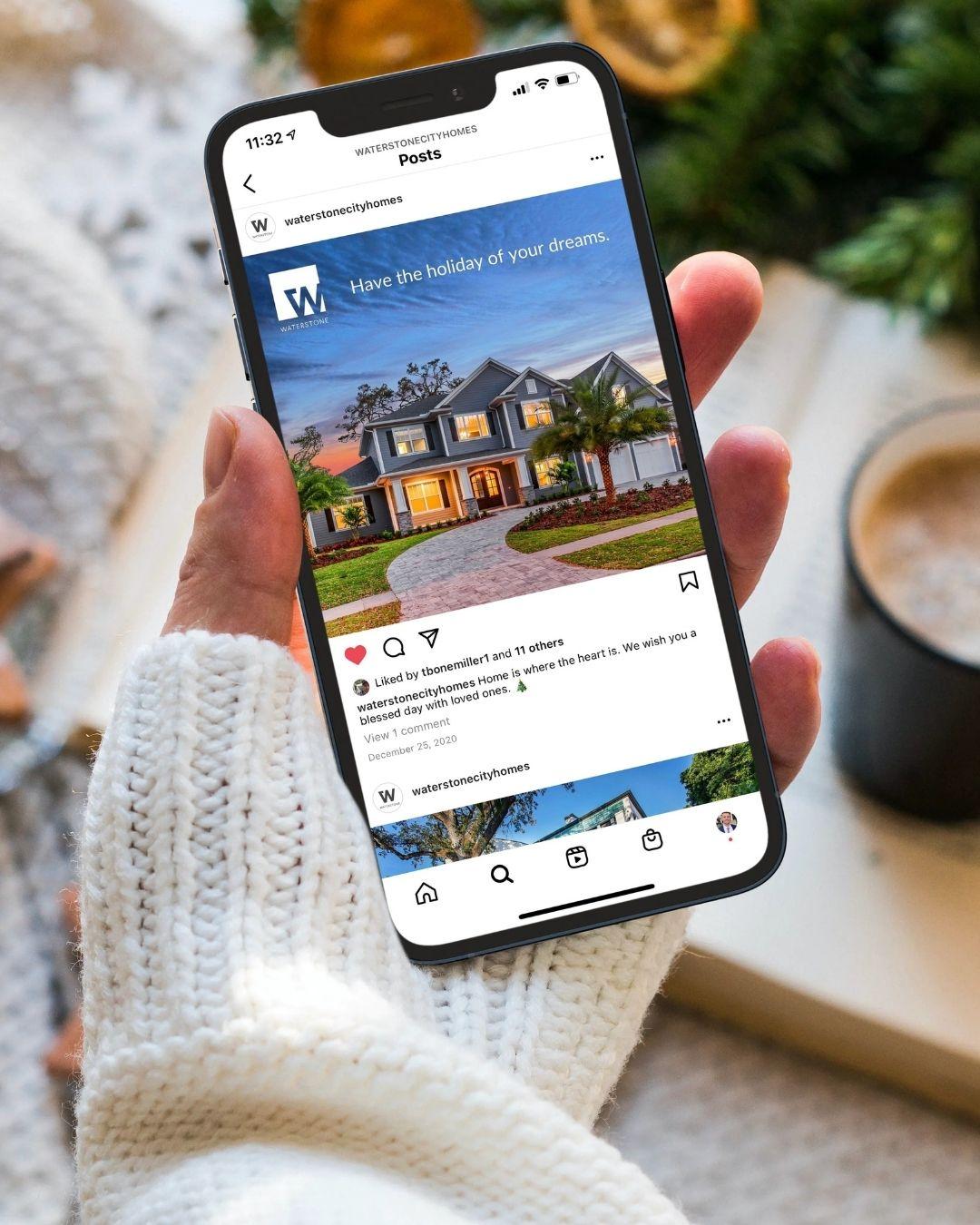 Social Media Management Services - Phone Showing Instagram